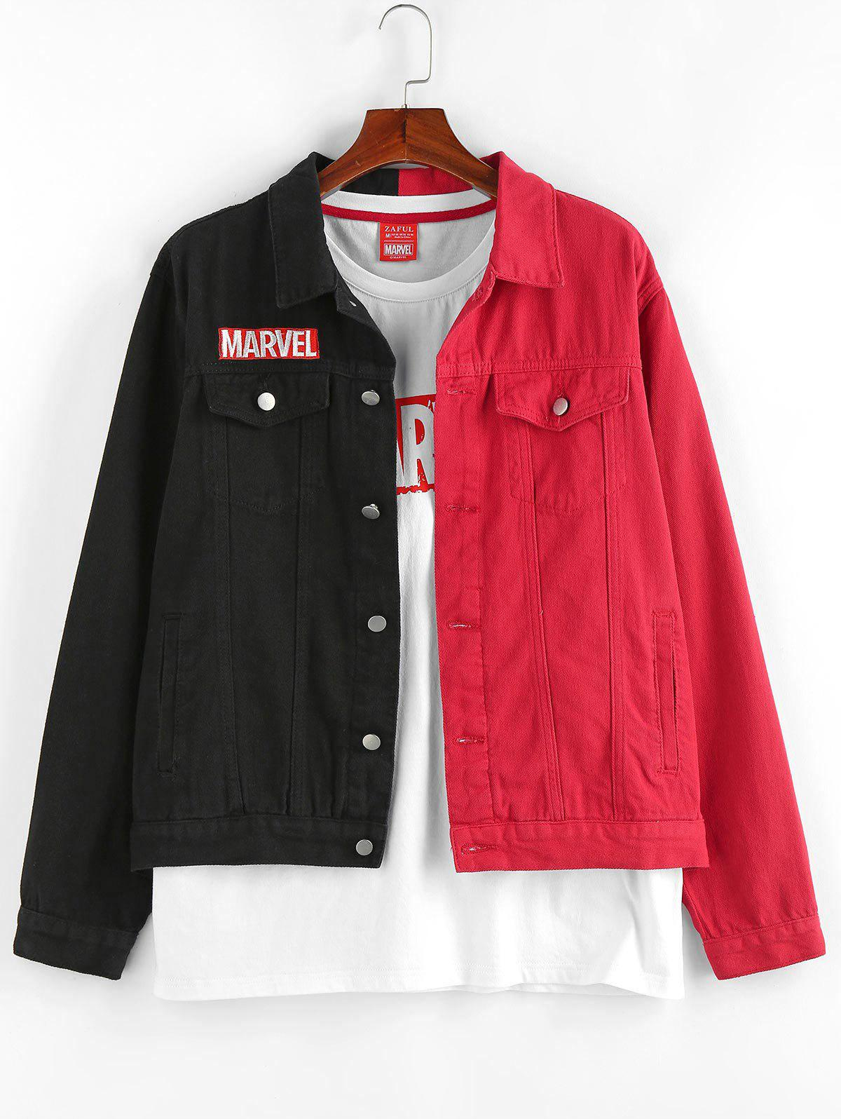 Cheap Marvel Spider-Man Embroidery Colorblock Jean Jacket