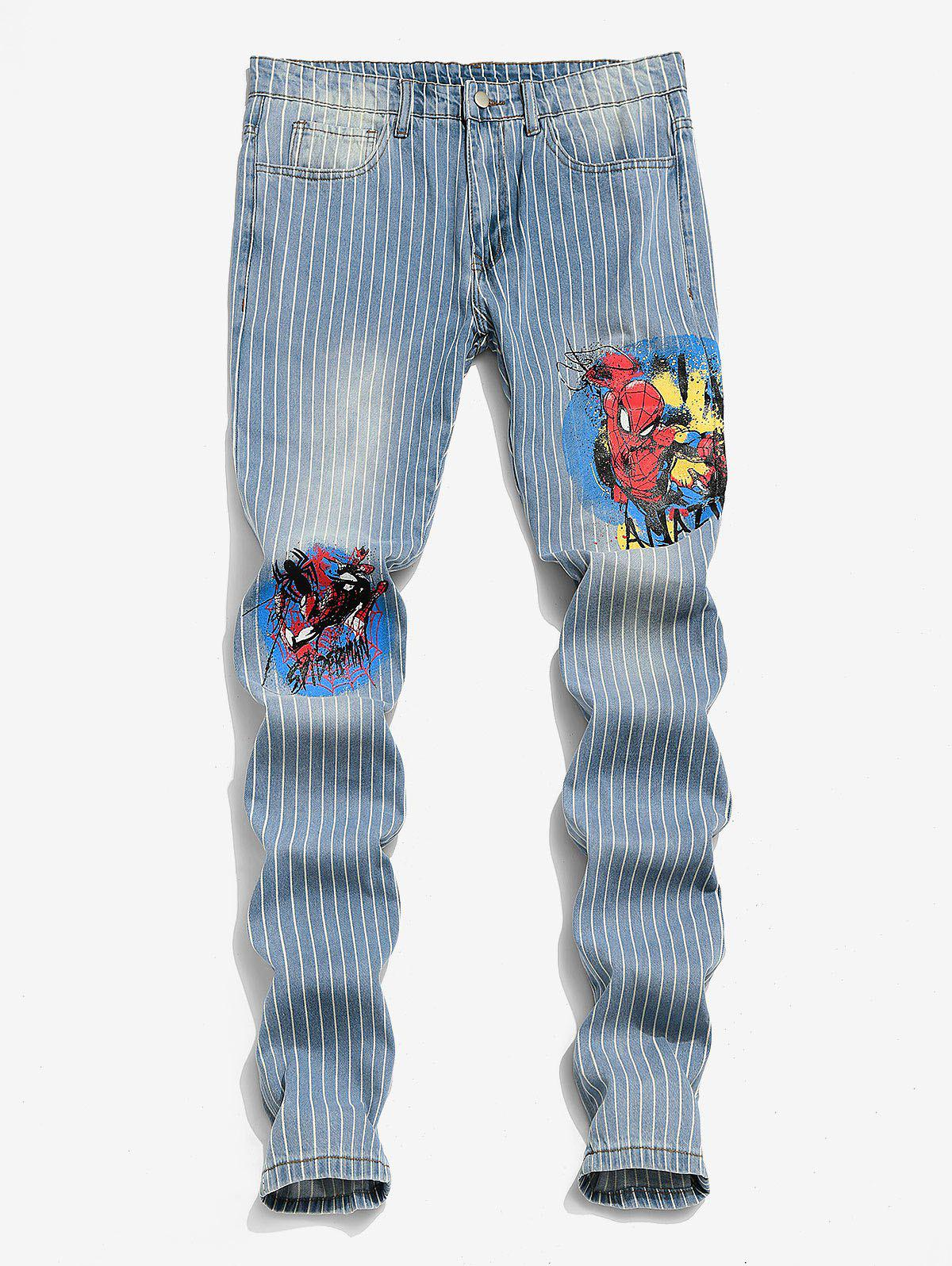 Affordable Marvel Spider-Man Graphic Pinstriped Casual Jeans