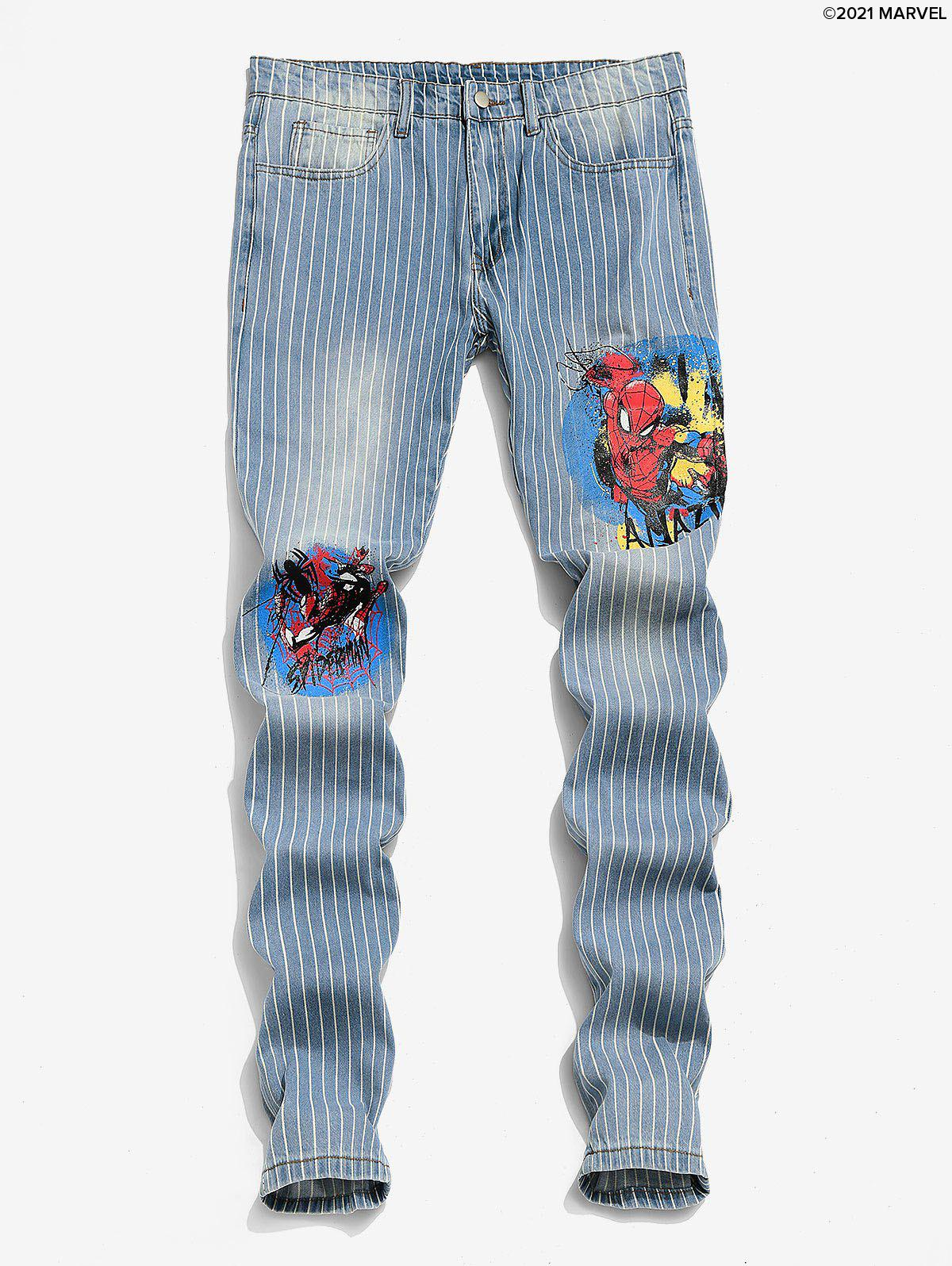 Outfit Marvel Spider-Man Graphic Pinstriped Casual Jeans