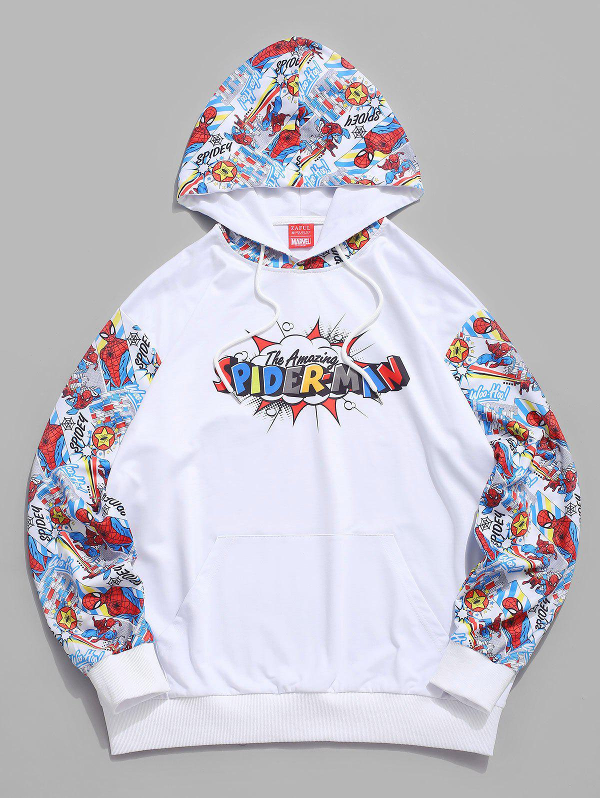 Sweat à Capuche Motif de Graphique Marvel Spider-Man Blanc S