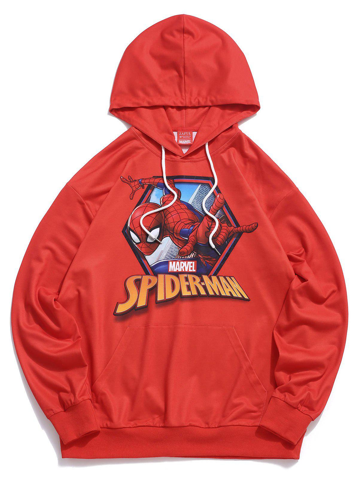 Sweat à Capuche Simple Graphique Imprimé Marvel Spider-Man Rouge S