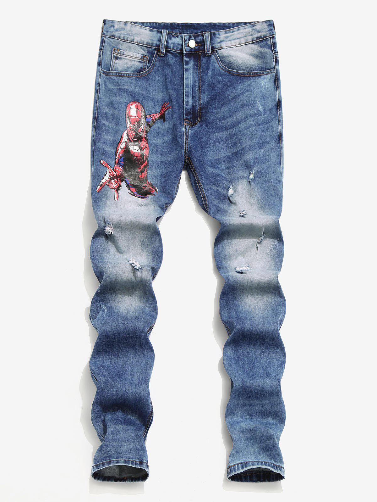 Fancy Marvel Spider-Man Star Ripped Jeans