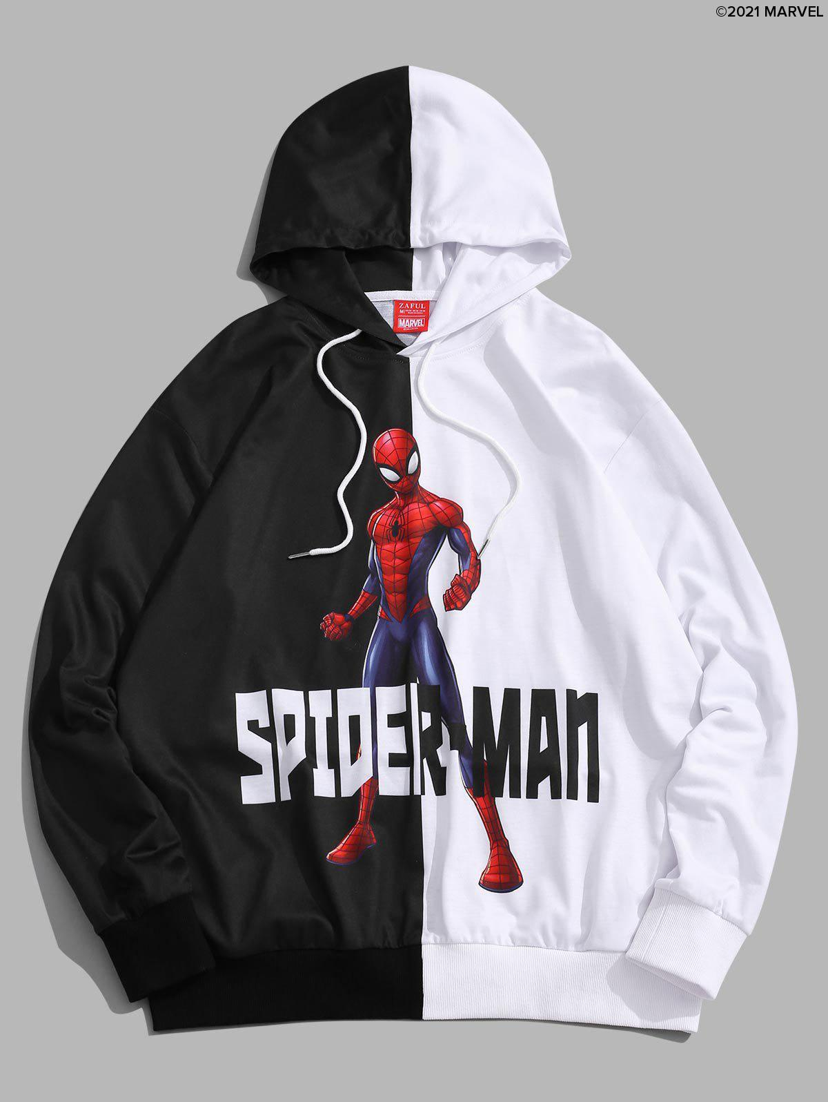 Affordable Marvel Spider-Man Print Two Tone Pullover Hoodie