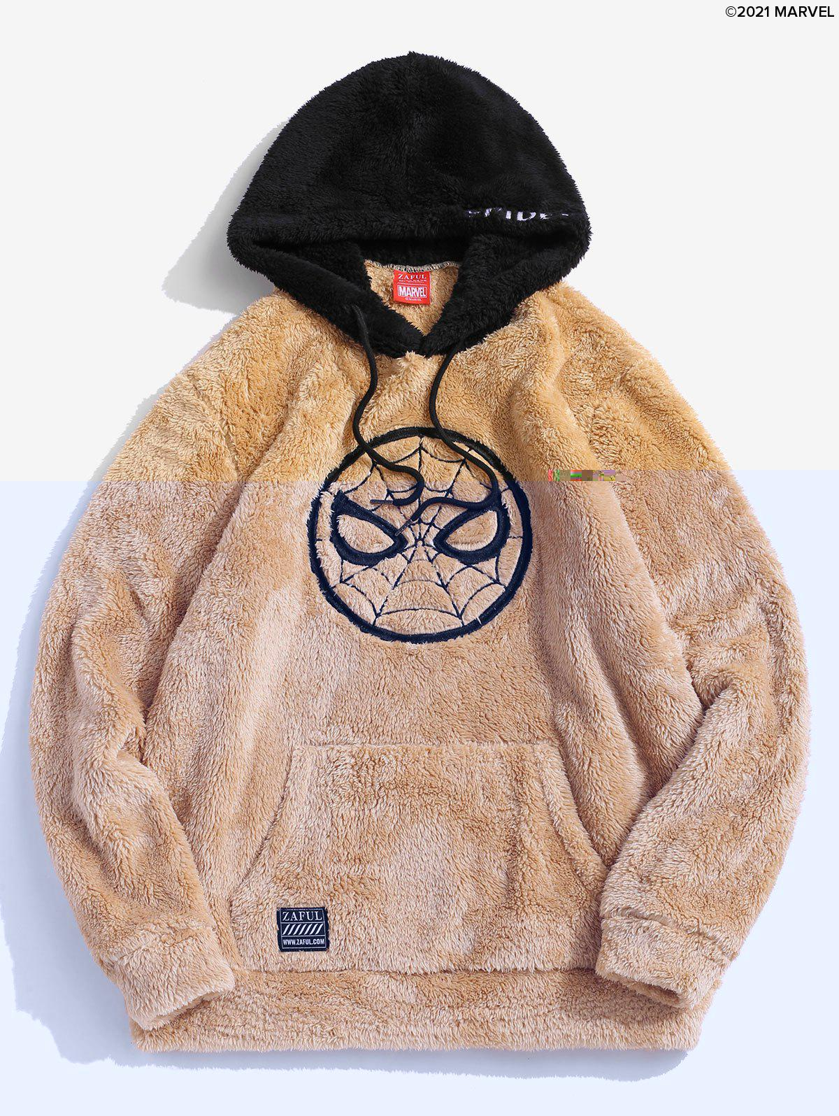 Fashion Marvel Spider-Man Embroidered Contrast Fluffy Hoodie