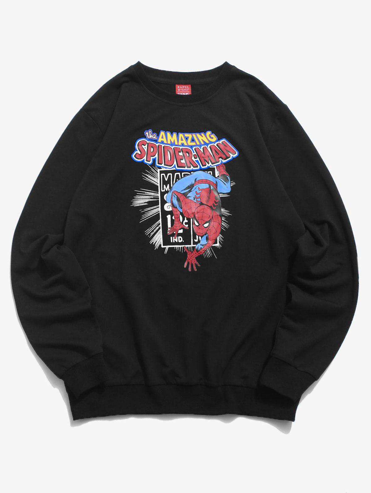 Sweat-shirt Lettre Graphique Marvel Spider-Man Imprimé Noir M