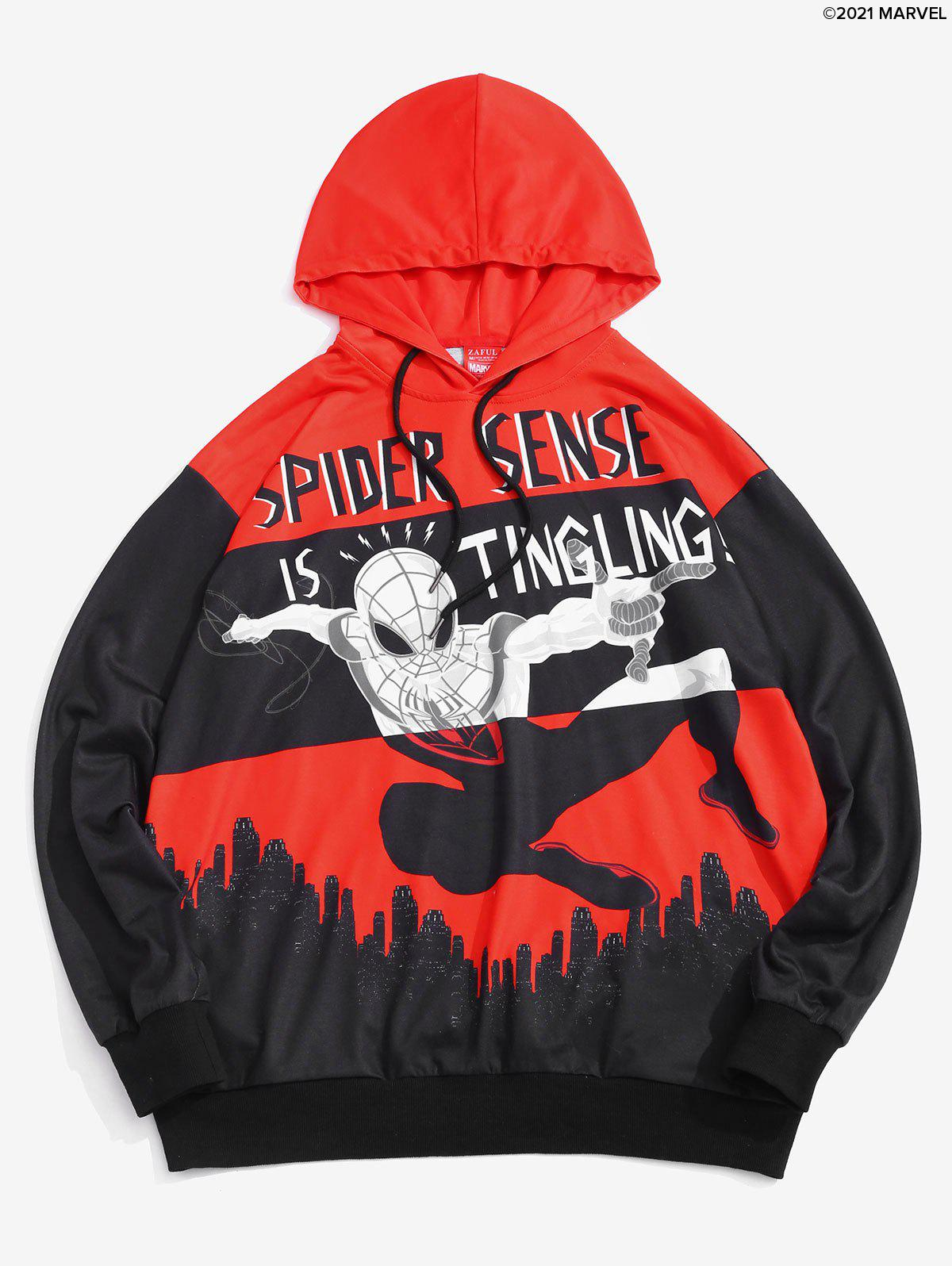 Fashion Marvel Spider-Man Graphic City Print Drawstring Hoodie