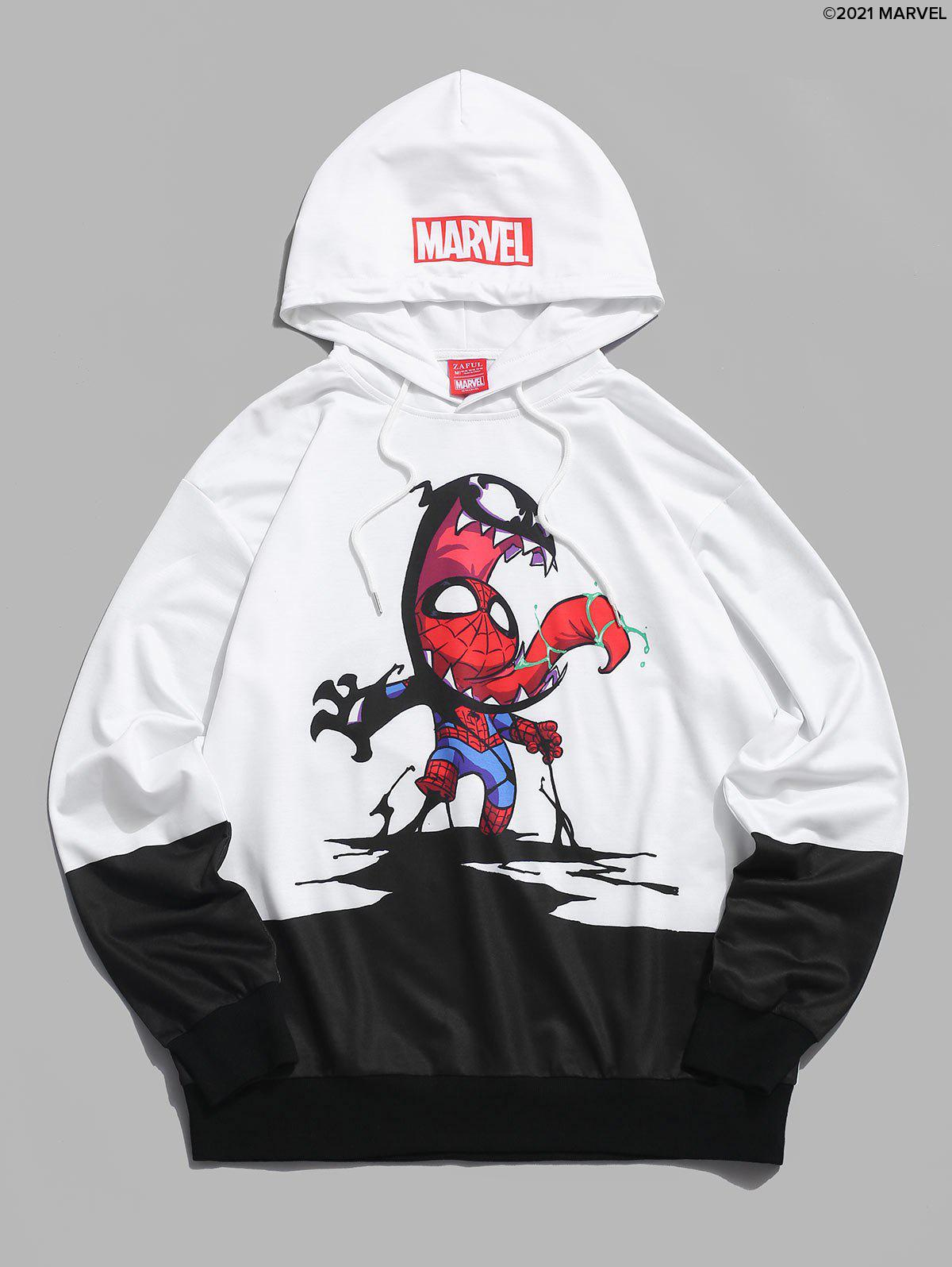 Sweat à Capuche Décontracté Marvel Spider-Man Venom Graphique à Cordon Blanc M