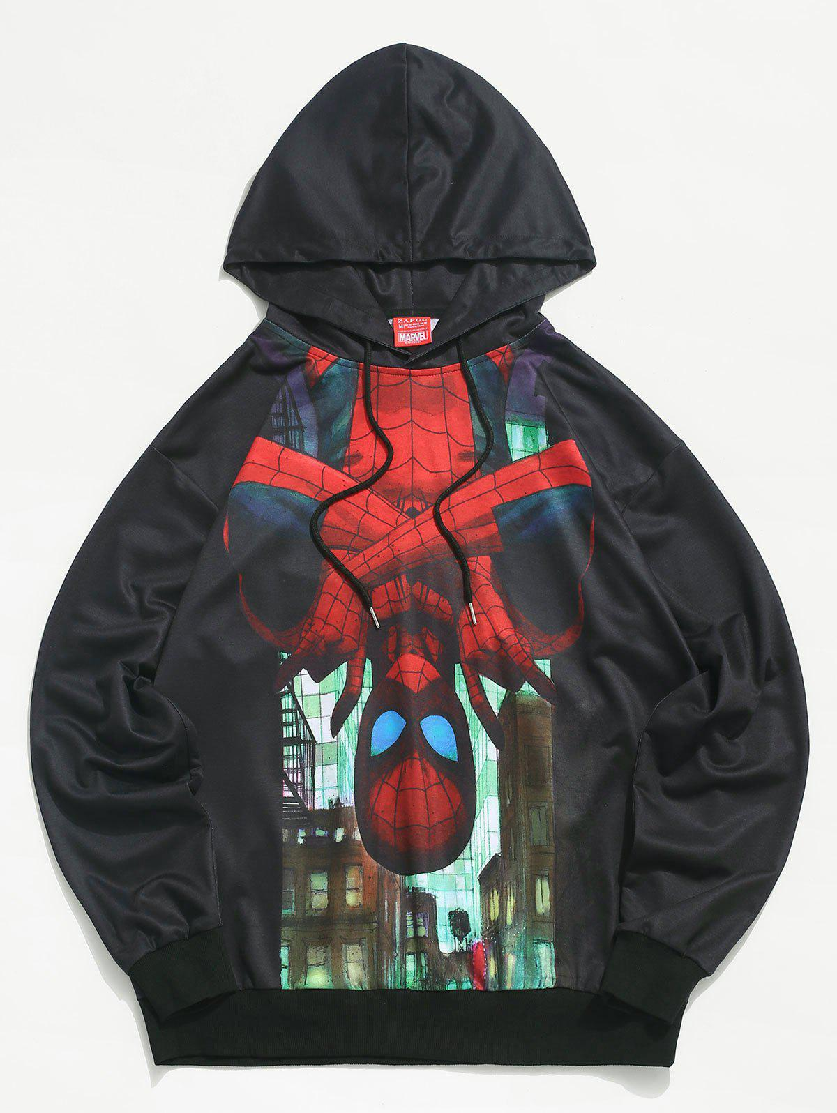 Sweat à Capuche Marvel Spider-Man Imprimé à Cordon Noir L