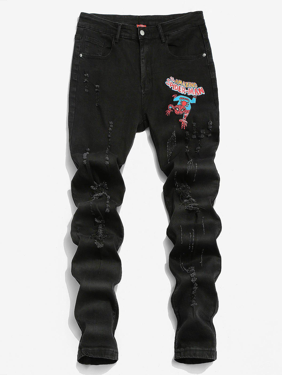 Discount Marvel Spider-Man Graphic Print Ripped Tapered Jeans