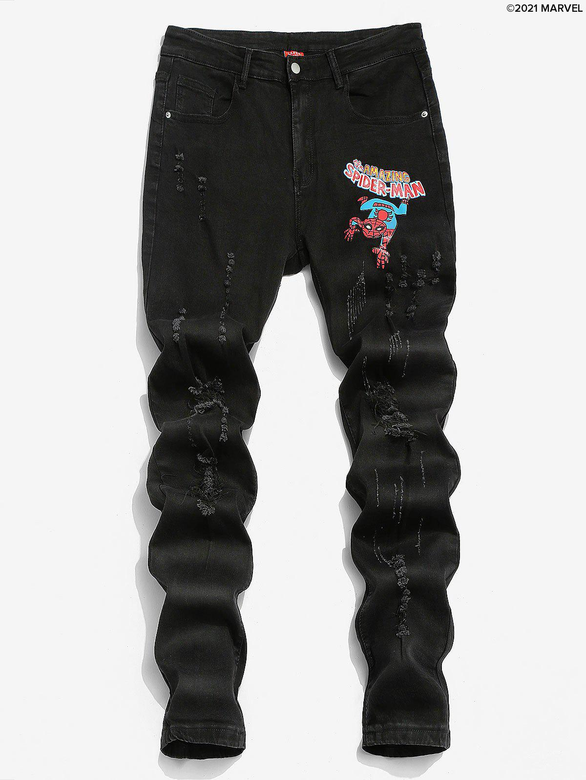 Shop Marvel Spider-Man Graphic Print Ripped Tapered Jeans