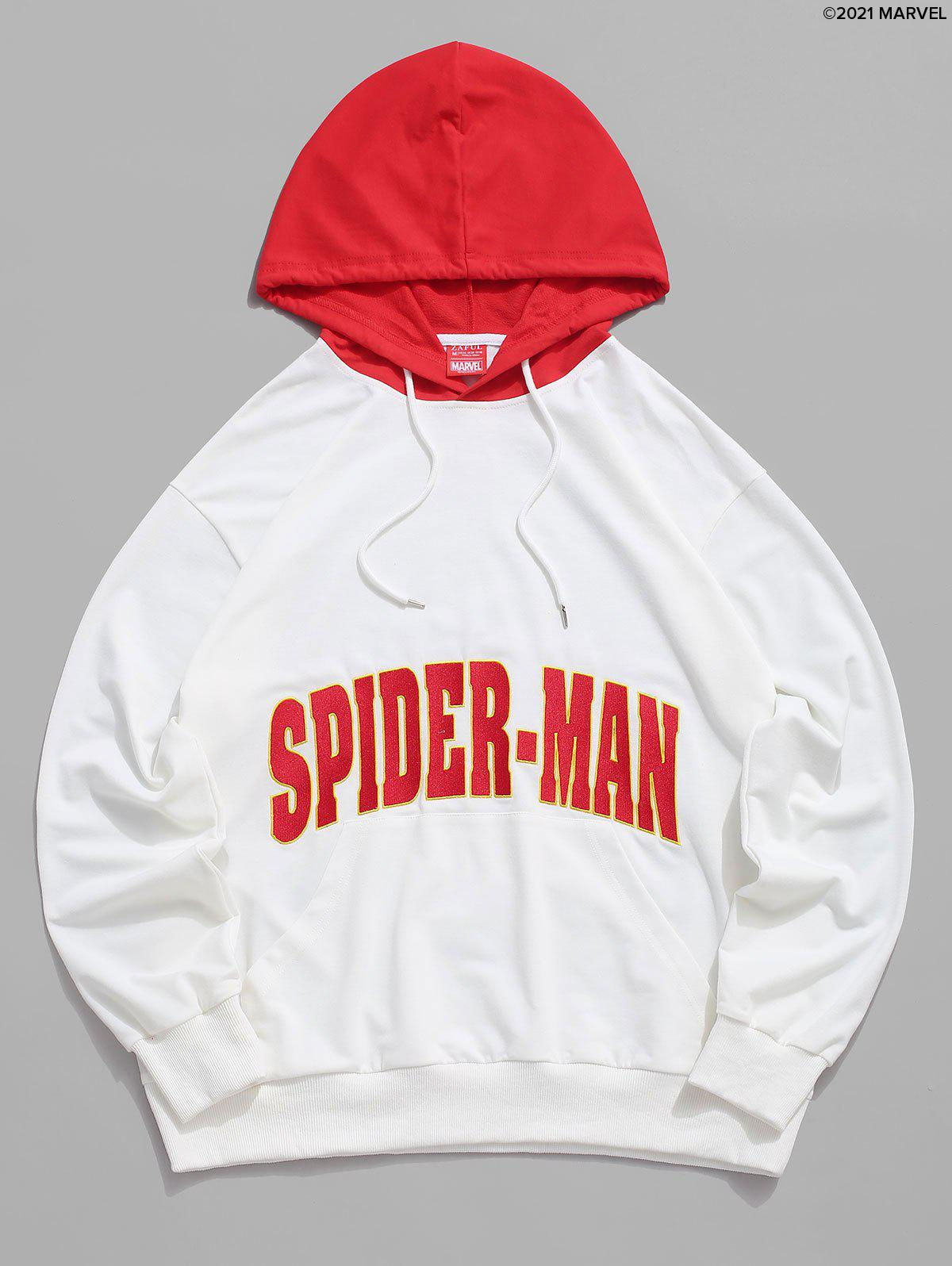 Affordable Marvel Spider-Man Letter Embroidered Contrast Pullover Hoodie