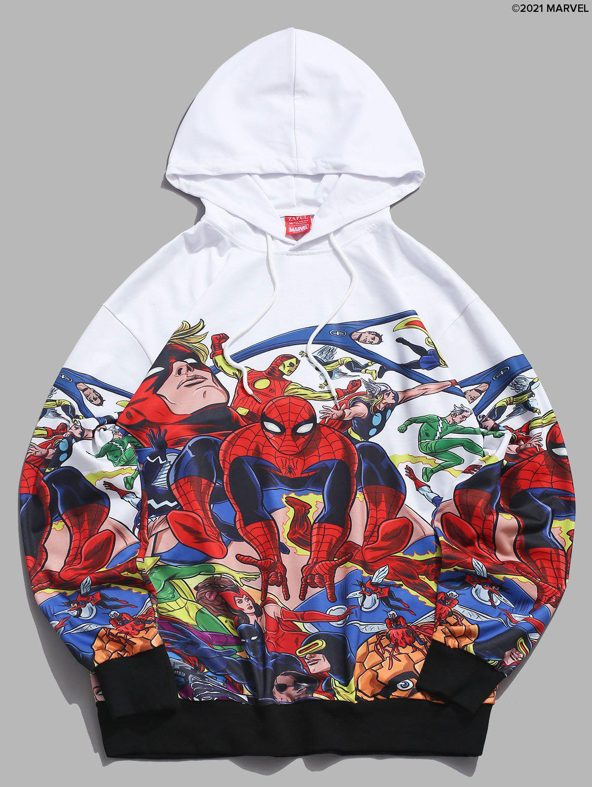 Shop Marvel Spider-Man Printed Rib-knit Trim Hoodie