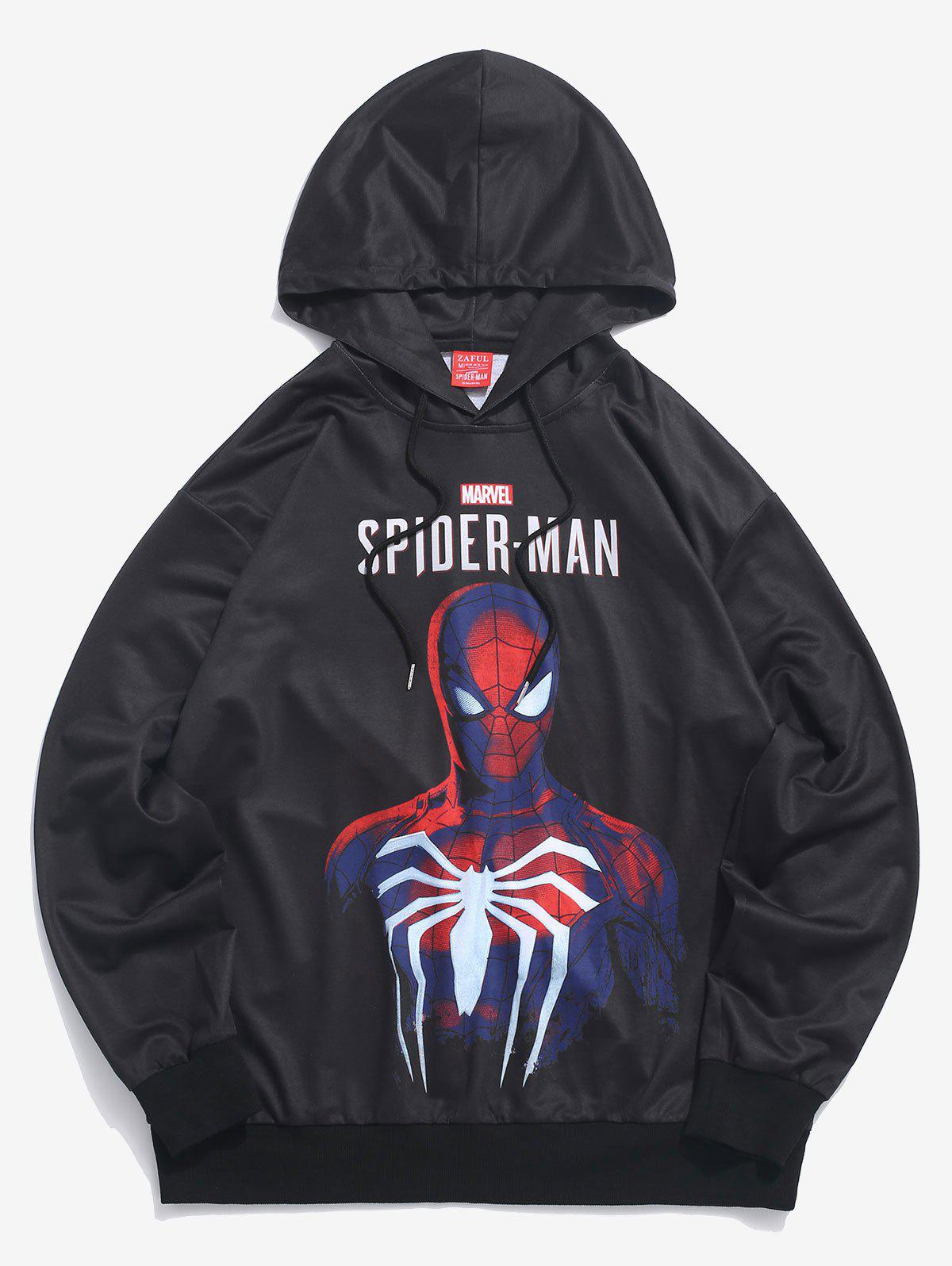 Sweat à Capuche Pull-over Lettre Marvel Spider-Man Imprimé Noir 2XL