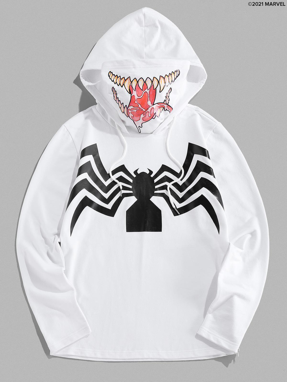 Affordable Marvel Spider-Man Venom Print Double Collar Mask Hoodie