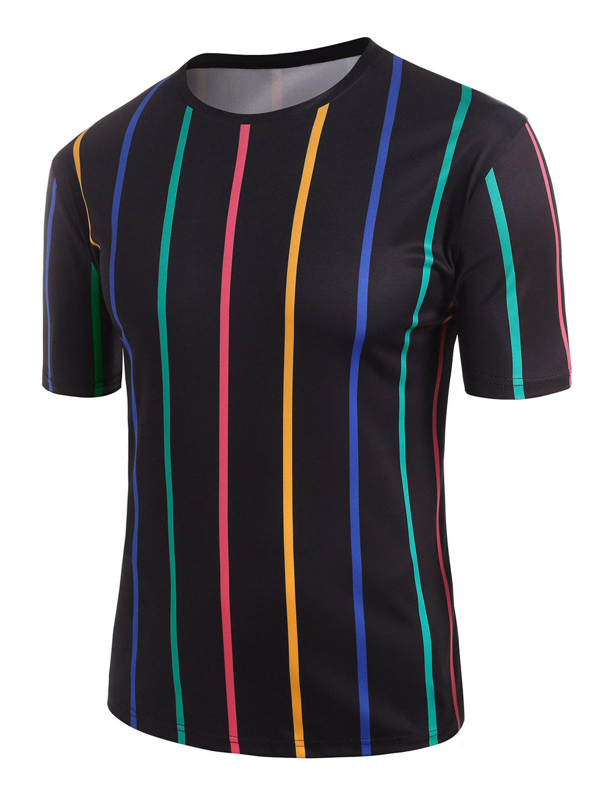 Best Colorful Striped Print T-shirt
