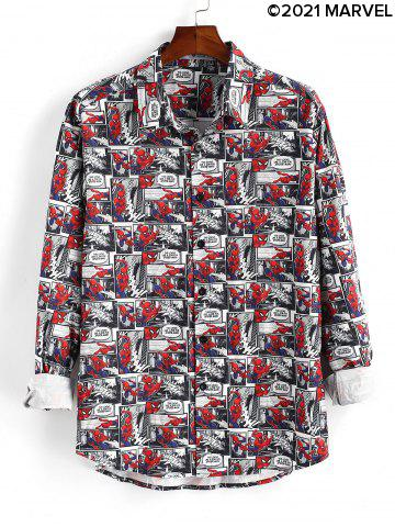 Marvel Spider-Man Button Up Comics Print Shirt
