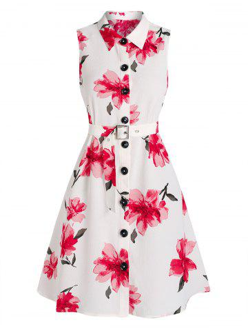 Flower Print Sleeveless Belted Shirt Dress