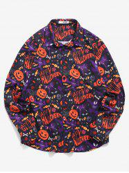 Marvel Spider-Man Button Up Halloween Pumpkin Print Shirt -