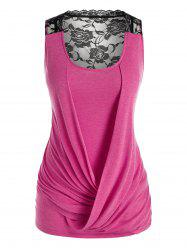Plus Size Colorblock Lace Insert Draped Front Tank Top -