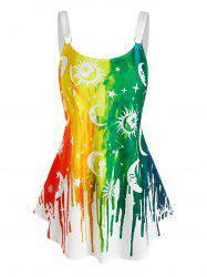 Sun Moon Star Rainbow Paint Print Curved Hem Tank Top -