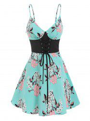 Floral Print Lace-up Front Cami Dress -