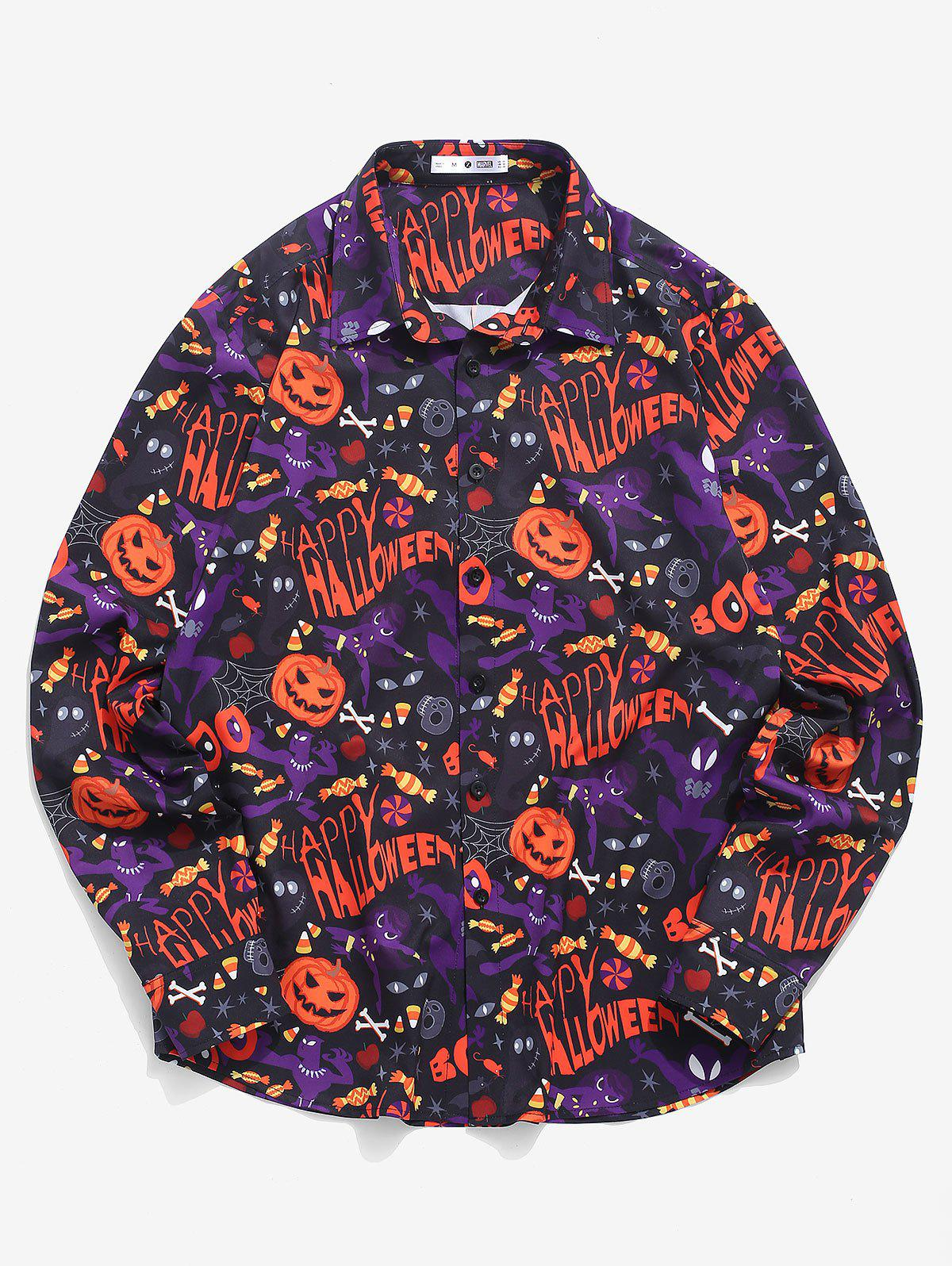 Best Marvel Spider-Man Button Up Halloween Pumpkin Print Shirt