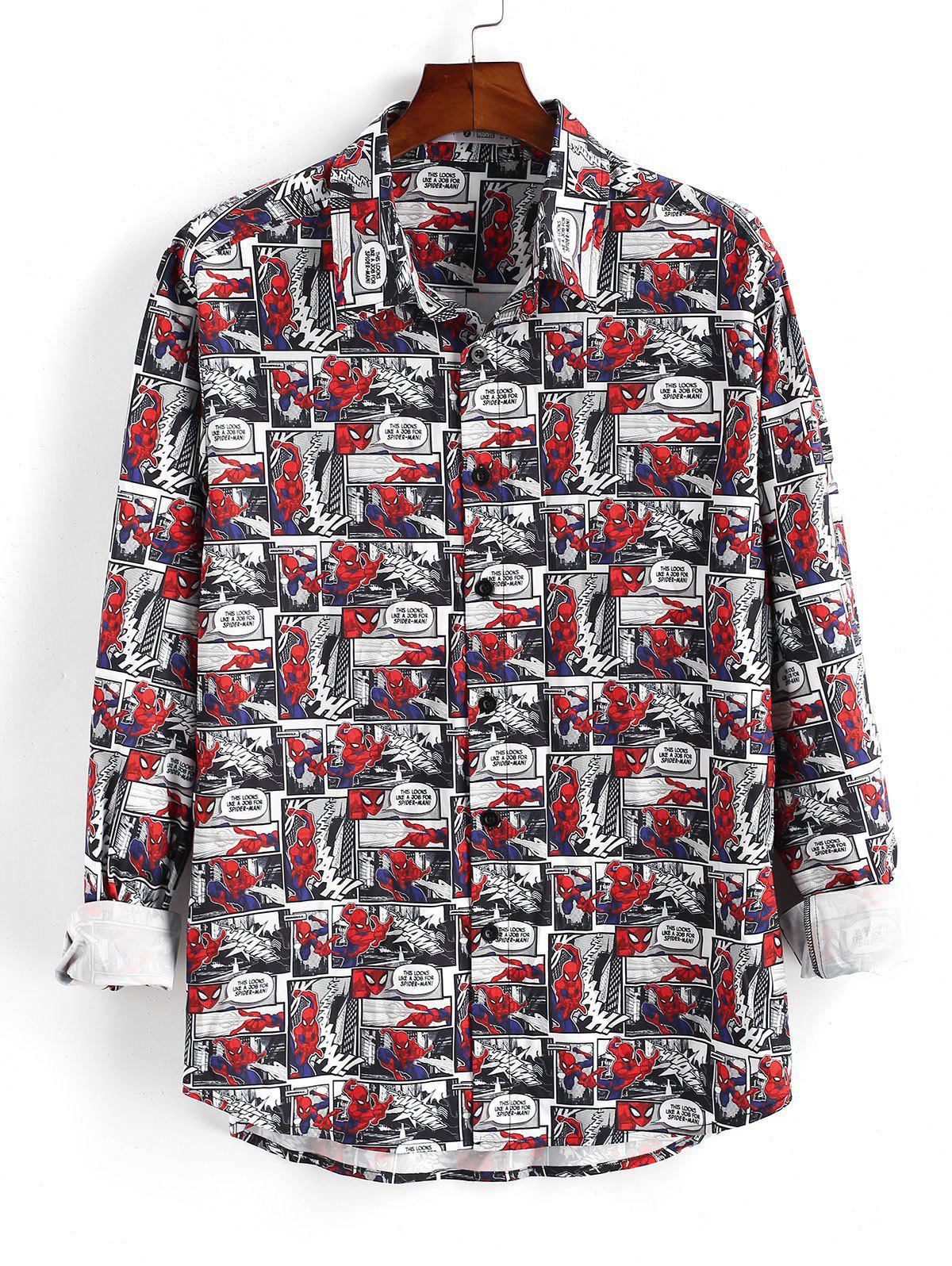 Chic Marvel Spider-Man Button Up Comics Print Shirt