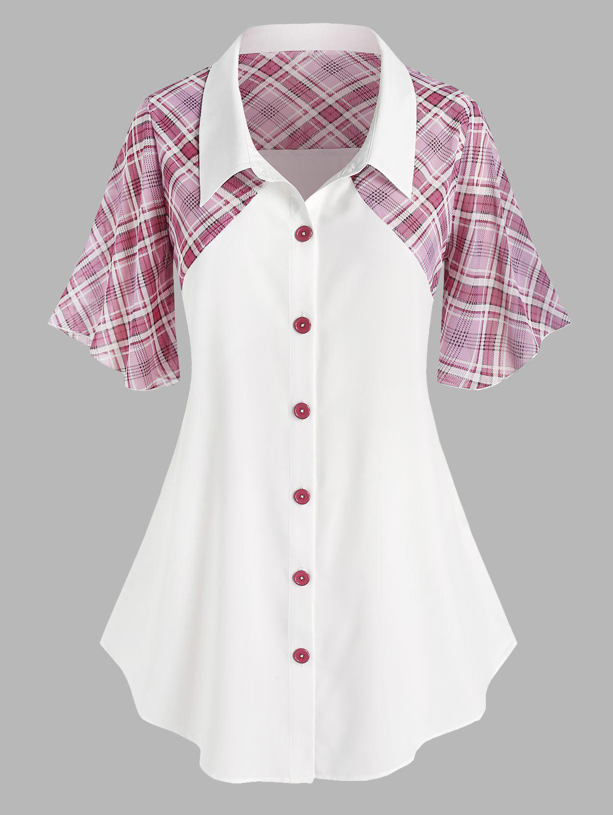 Outfit Plus Size Plaid Insert Flare Sleeve Blouse