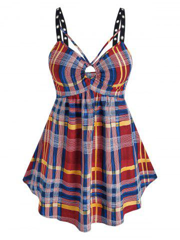 Plus Size Plaid Grommet Backless Tank Top - RED - 4X