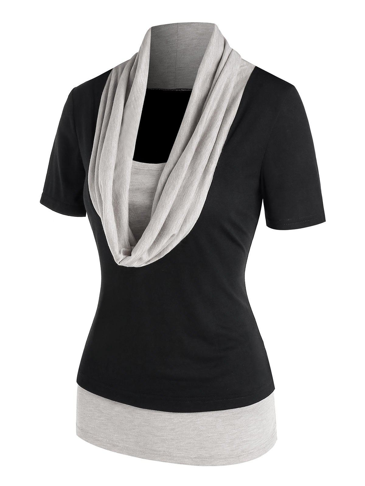 Outfits Cowl Neck Contrast Short Sleeve T-shirt