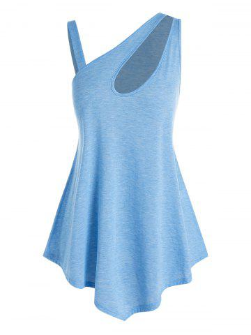 Plus Size Skew Neck Cutout Asymmetric Tank Top - LIGHT BLUE - 2X