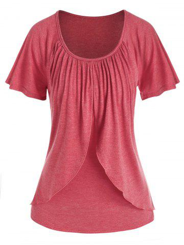 Raglan Sleeve Overlay Heathered T-shirt