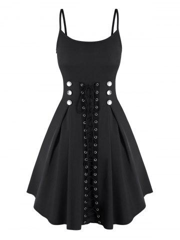 Spaghetti Strap Mock Button Lace-up Front Dress