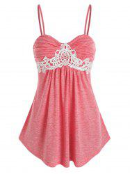 Lace Insert Ruched Heathered Cami Top -