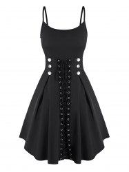 Spaghetti Strap Mock Button Lace-up Front Dress -
