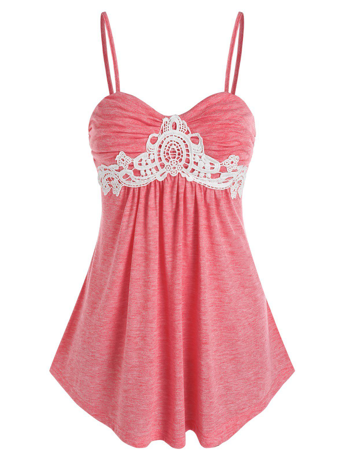 Fancy Lace Insert Ruched Heathered Cami Top