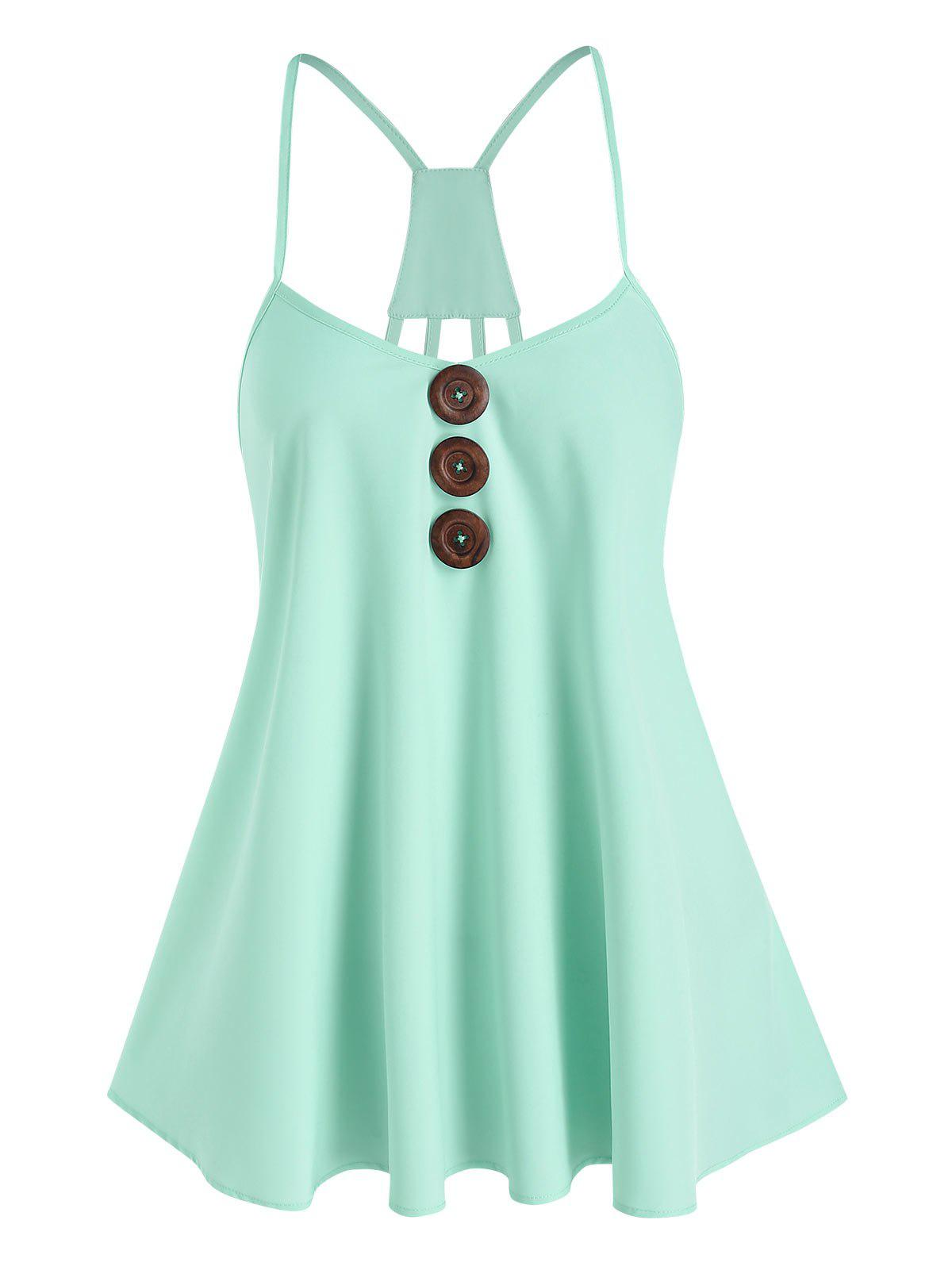 Trendy Strappy Wood Button Cami Top