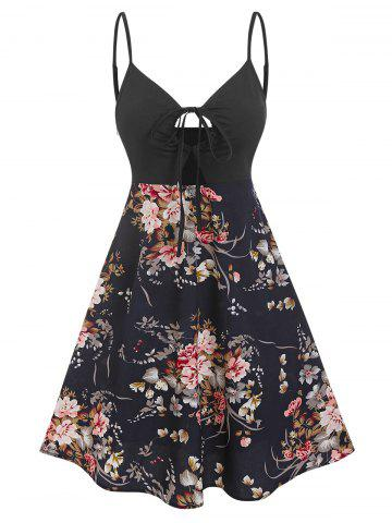Spaghetti Strap Floral Print Keyhole Knotted Dress