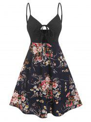 Spaghetti Strap Floral Print Keyhole Knotted Dress -