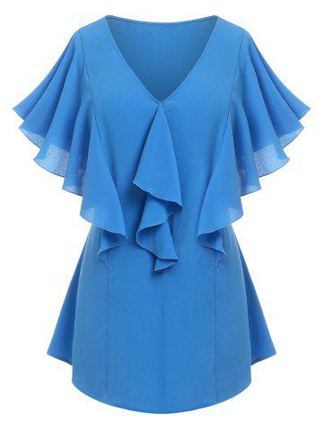 Plus Size Ruffle Butterfly Sleeve Plunging Blouse - BLUE - 4X