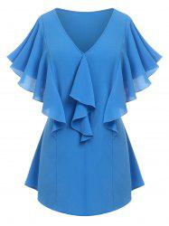 Plus Size Ruffle Butterfly Sleeve Plunging Blouse -