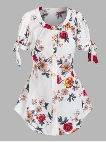 Button Front Floral Tie Sleeve Blouse - WHITE - XL