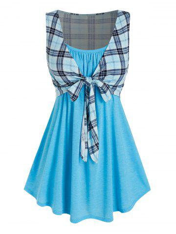 Plus Size Longline Camisole with Plaid Tie Front Tank Top