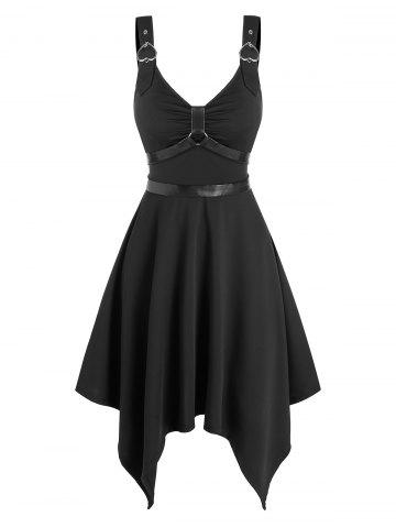 Gothic Style Heart Ring Buckle Straps Dress