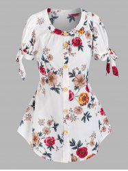 Button Front Floral Tie Sleeve Blouse -