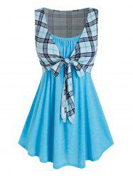 Plus Size Longline Camisole with Plaid Tie Front Tank Top -