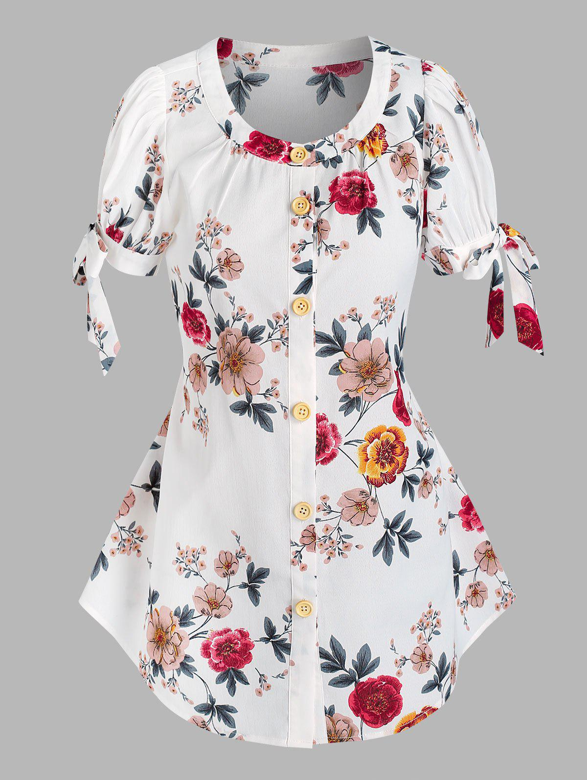Buy Button Front Floral Tie Sleeve Blouse