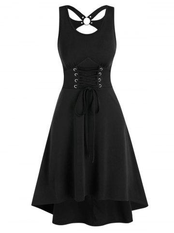 Cut Out Lace-up Sleeveless High Low Dress - BLACK - XL
