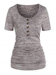 Ruched Space Dye Print Henley T-shirt -