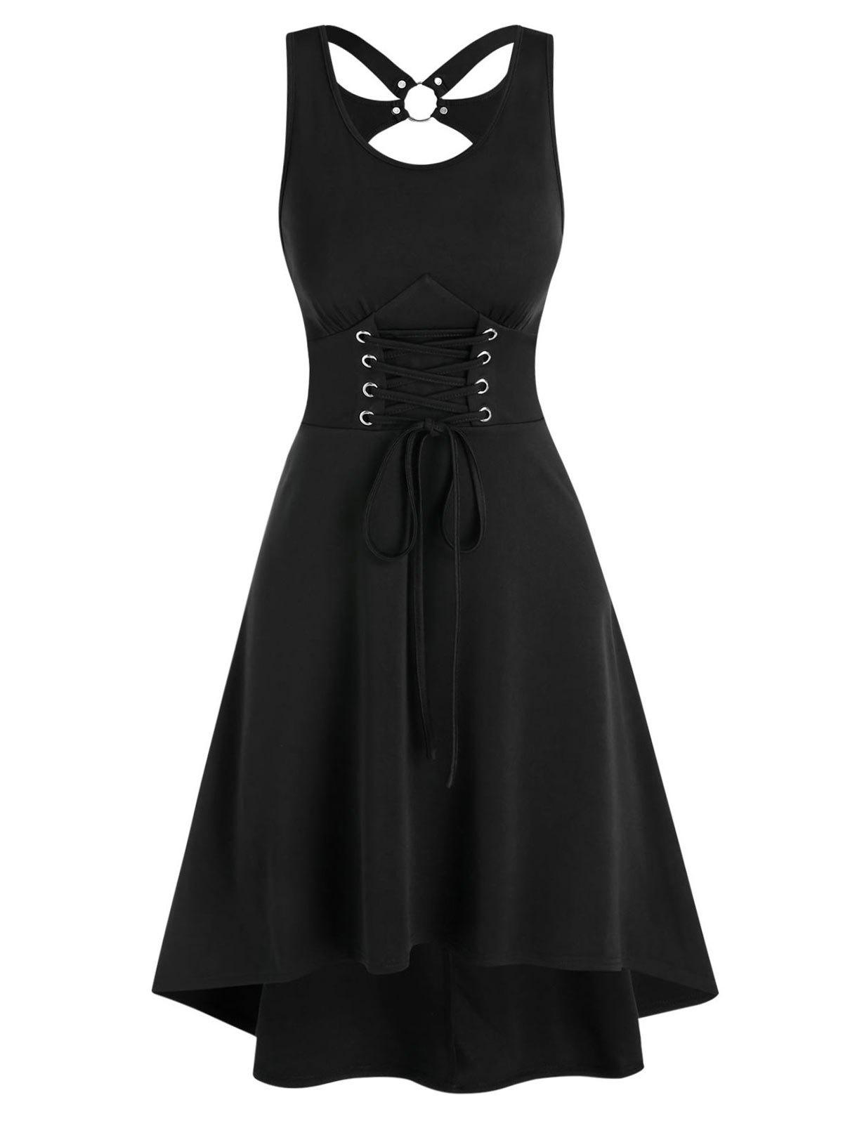 Sale Cut Out Lace-up Sleeveless High Low Dress